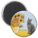 Sunflowers - Russian Blue cat 6 Cm Round Magnet