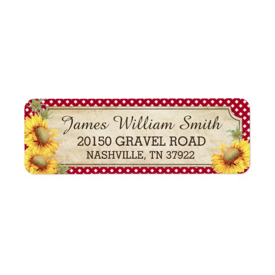 Sunflowers Rustic Country Picnic Wedding Label