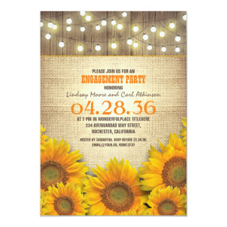 Sunflowers Rustic Engagement Party Invitations