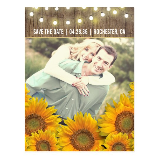 Sunflowers Rustic Photo Save The Date Postcards