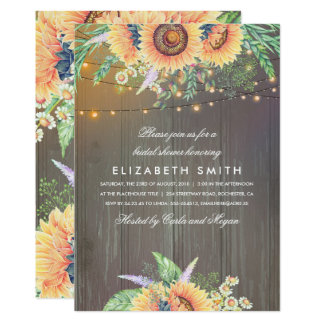 Sunflowers Rustic String Lights Wood Bridal Shower Card
