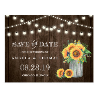 Sunflowers Save the Date Rustic Wood String Lights Postcard