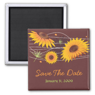 Sunflowers Save The Date Wedding Announcement 2 Fridge Magnets