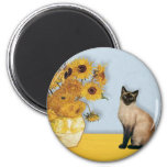 Sunflowers - Seal Point Siamese cat 6 Cm Round Magnet