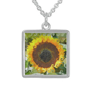 SUNFLOWERS STERLING SILVER NECKLACE