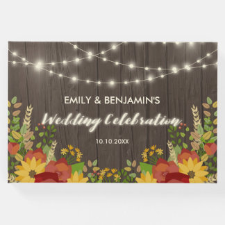 Sunflowers & String Lights Rustic Wedding Guest Book