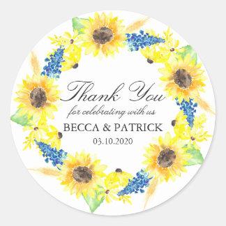 Sunflowers Sunny Summer Wedding Stickers
