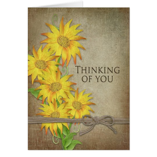 Sunflowers -Thinking of You - Brown Textures Card