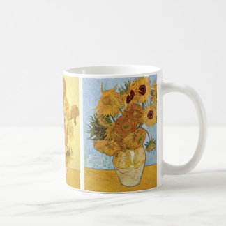 Sunflowers Triptych by Vincent van Gogh Basic White Mug