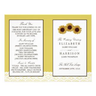 Sunflowers & Vintage Lace Wedding Bi-fold Program 21.5 Cm X 28 Cm Flyer