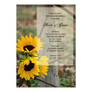 Sunflowers Wagon Wheel Country Post Wedding Brunch Card