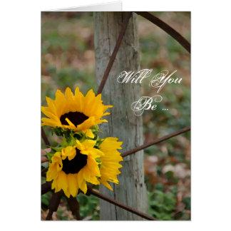 Sunflowers Wagon Wheel Will You Be My Bridesmaid Greeting Card