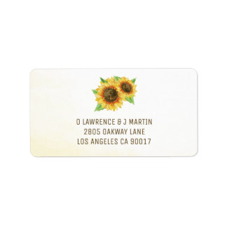 Sunflowers Watercolor Label