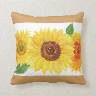 Sunflowers watercolor painting pillow