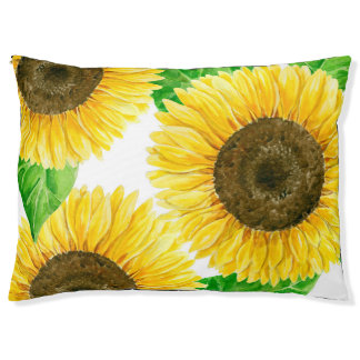 Sunflowers watercolor pet bed