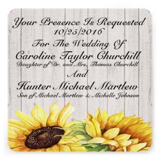 Sunflowers Wedding 13 Cm X 13 Cm Square Invitation Card