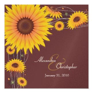 "Sunflowers Wedding Invitation Announcement 5.25"" Square Invitation Card"