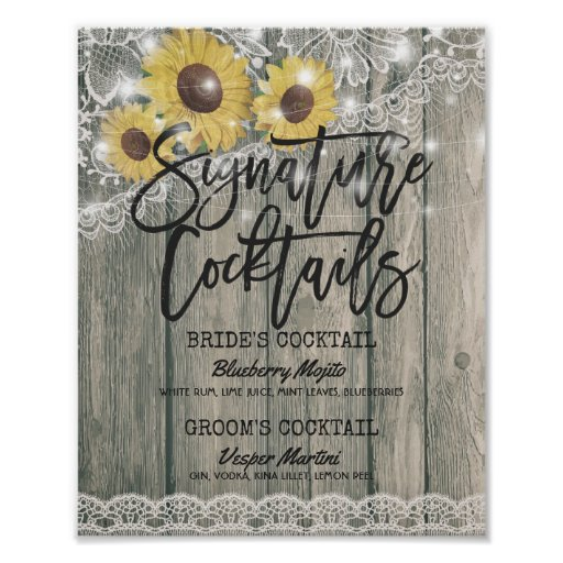 Sunflowers Wedding Signature Cocktail Drink Menu Poster