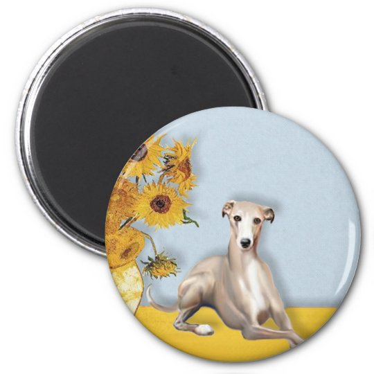 Sunflowers - Whippet #2A 6 Cm Round Magnet