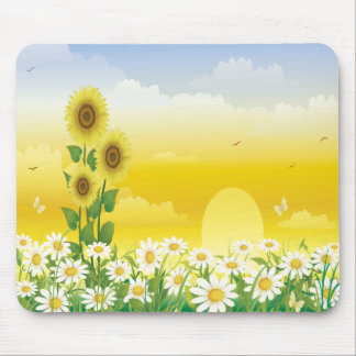 Sunflowers, White Flowers, Sun , Mouse Mat