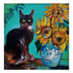 SUNFLOWERS WITH BLACK CAT IN BLUE TURQUOISE