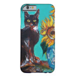 SUNFLOWERS WITH BLACK CAT IN BLUE TURQUOISE BARELY THERE iPhone 6 CASE