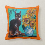 SUNFLOWERS WITH BLACK CAT IN BLUE TURQUOISE THROW CUSHIONS