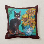 SUNFLOWERS WITH BLACK CAT IN BLUE TURQUOISE CUSHION