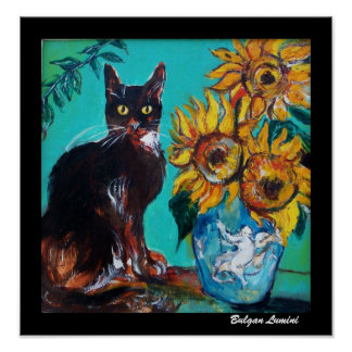 SUNFLOWERS WITH BLACK CAT IN BLUE TURQUOISE POSTER