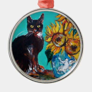 SUNFLOWERS WITH BLACK CAT IN BLUE TURQUOISE Silver-Colored ROUND DECORATION