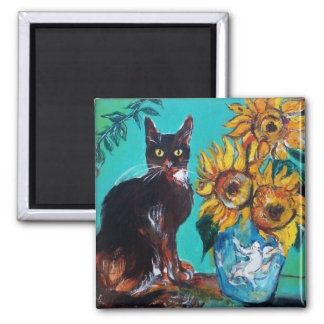 SUNFLOWERS WITH BLACK CAT IN BLUE TURQUOISE SQUARE MAGNET