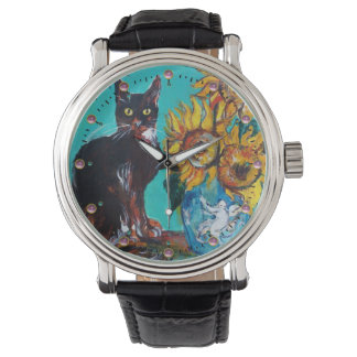 SUNFLOWERS WITH BLACK CAT Yellow Turquoise Blue Wrist Watches