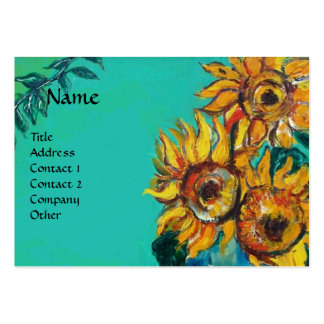 SUNFLOWERS WITH CAT BUSINESS CARDS