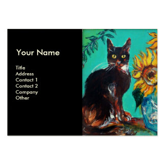 SUNFLOWERS WITH CAT BUSINESS CARD