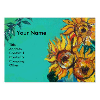 SUNFLOWERS WITH CAT BUSINESS CARD TEMPLATE