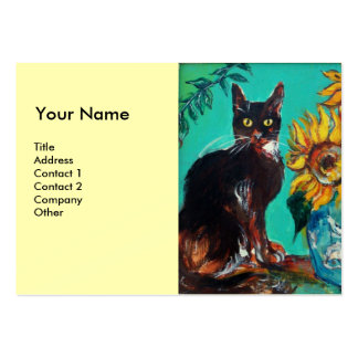 SUNFLOWERS WITH CAT, cream black Business Cards
