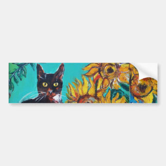 SUNFLOWERS WITH CAT -detail Bumper Stickers