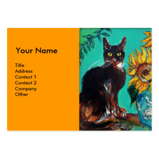 SUNFLOWERS WITH CAT,orange yellow Business Cards