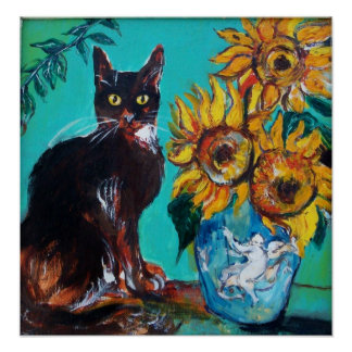 SUNFLOWERS WITH CAT PRINT