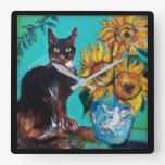 SUNFLOWERS WITH CAT WALL CLOCKS