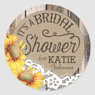 Sunflowers Wood Lace Rustic Bridal Shower Label Classic Round Sticker