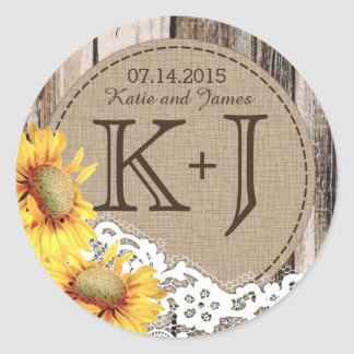 Sunflowers Wood Lace Rustic Country Wedding Label