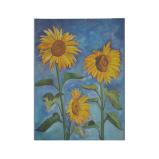Sunflowers Wood Poster