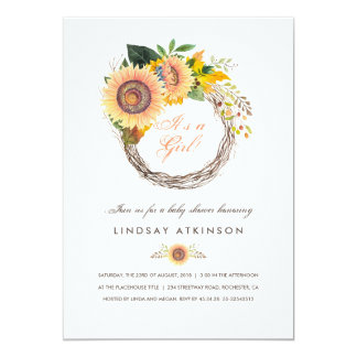 Sunflowers Wreath Rustic Fall Baby Shower Card