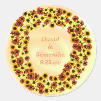 Sunflowers Wreathe Autumn Wedding Date Stickers