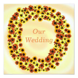 Sunflowers Wreathe Autumn Wedding Invitations