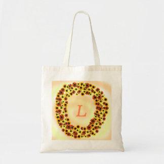 Sunflowers Wreathe Monogram Tote Bags