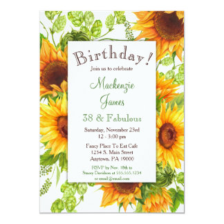 Sunflowers Yellow Floral Birthday Invitation