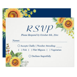 Sunflowers Yellow Navy Blue Rustic Wedding RSVP Card