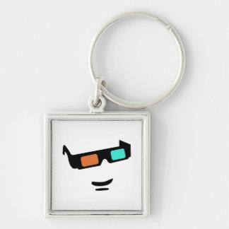 Sunglass Silver-Colored Square Key Ring